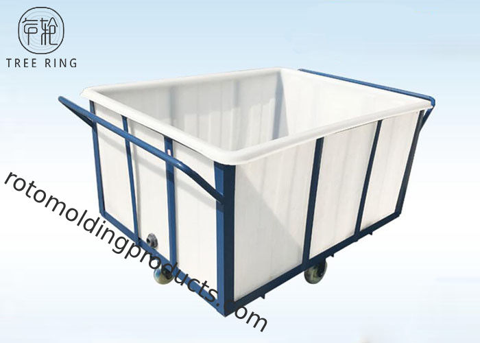 White 1000kg Rotational Poly Box Truck , Heavy Duty Wheelie Poly Laundry Carts
