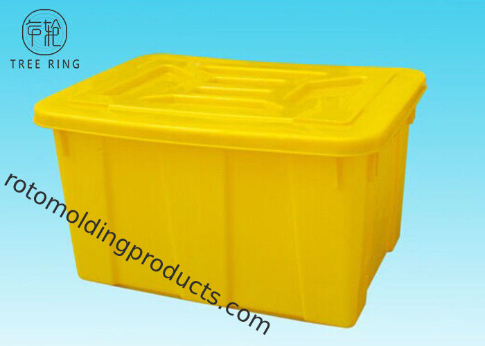 Commercial Colored Plastic Storage Totes With Lids / Cover Stacking And Nesting