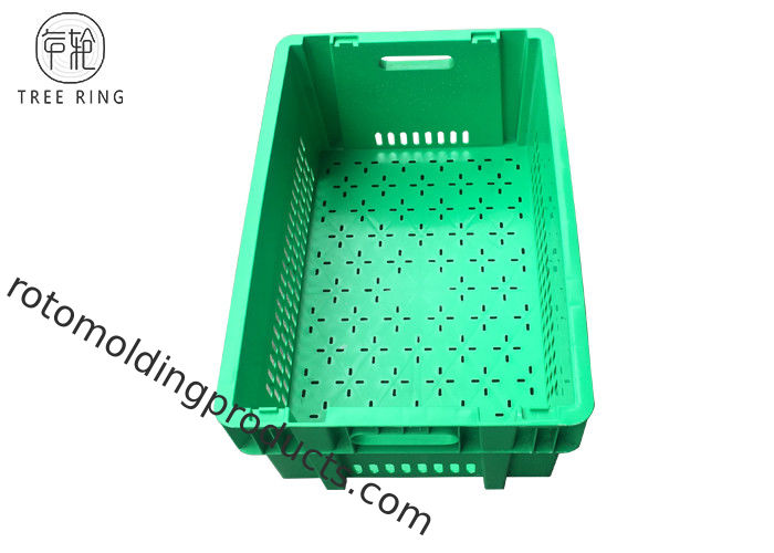 58ltr Green Square Plastic Vegetable Containers 600 X 400 X 300 Ventilated