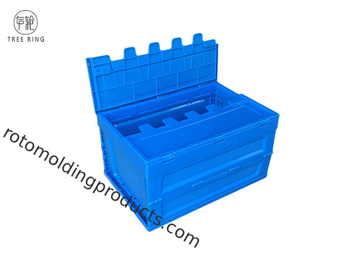 Turnover Collapsible Plastic Crate Foldable Moving Plastic Storage Crate With Lid